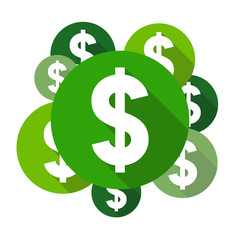 Dollar symbols, flat design style circles with long shadow, green color