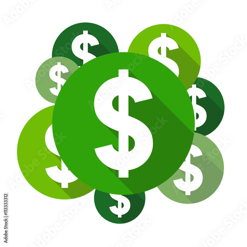 dollar sign coloring page - dollar symbols flat design style circles with long