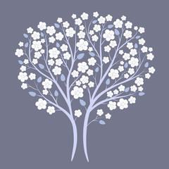 Spring tree in white blossom