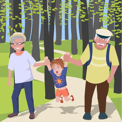 grandchild with grantparents walking at park