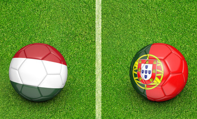 Team balls for Hungary vs Portugal football tournament match, 3D rendering