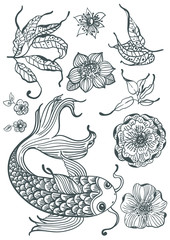 Stylish floral doodle background with koi fish and flowers