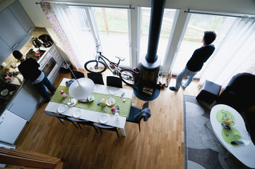 High angle view of couple in house