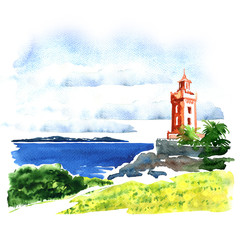 View of old building over sea, beautiful seascape, watercolor illustration