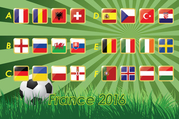 Flags of European 2016 on grass background and soccer ball. 24 nations