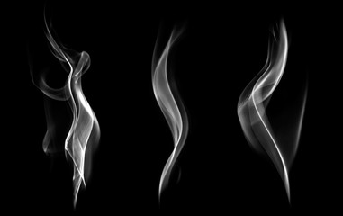 Abstract smoke isolated on black background.