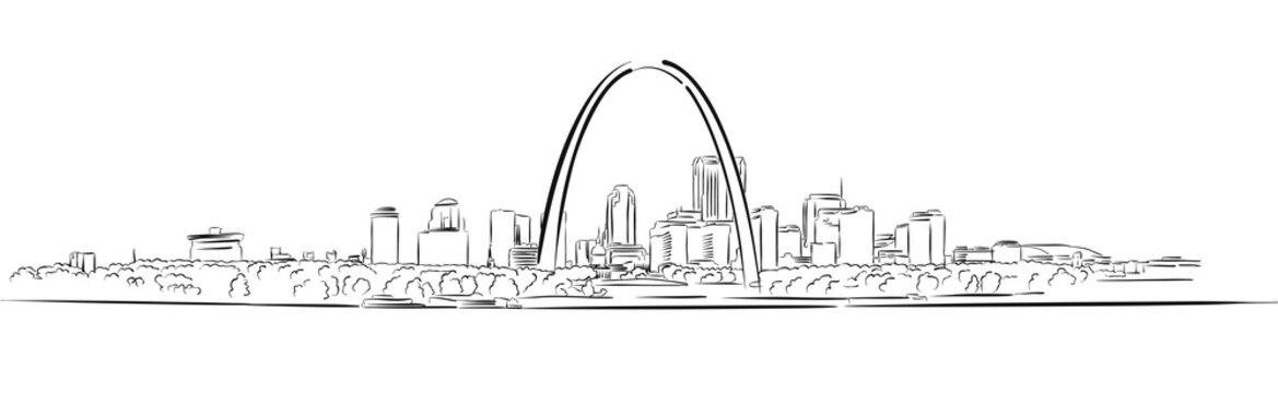 St Louis, Missouri, Hand-drawn Outline Sketch