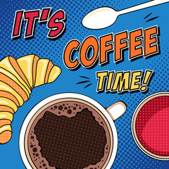 Comic morning pop art illustration with coffee cup