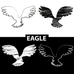 Bird silhouette. Black and white drawing eagle