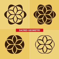 Sacred symbols and geometry for to tattoo. Flower of life