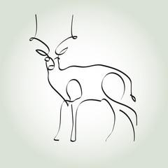 Antelope gazelle in minimal line style vector