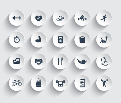 20 fitness icons, gym, workout, training, pictograms, icons on round 3d shapes, vector illustration