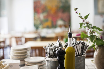 Variety of objects on table in restaurant