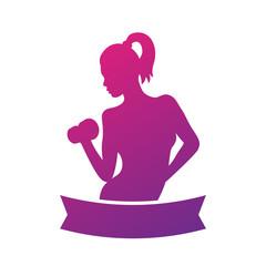 Fitness emblem, logo element with exercising athletic girl isolated on white, vector illustration