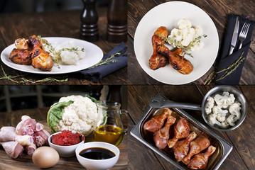 Cauliflower with chicken legs. Cooking. Recipe