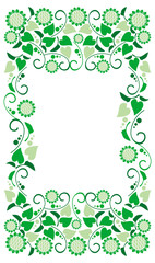 Color frame with decorative flowers silhouettes. Vector clip art.