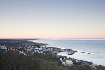 Landscape view of a town near sea