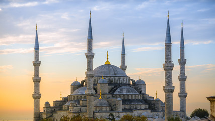 Blue mosque in glorius sunset, Istanbul, Sultanahmet park. The biggest mosque in Istanbul.