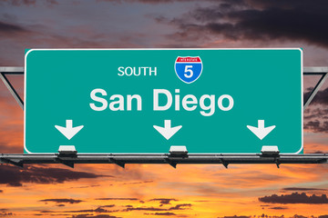 San Diego Interstate 5 South Highway Sign with Sunrise Sky