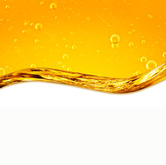 Liquid with air bubbles, yellow wave
