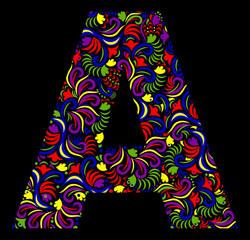 Illustration of  fantasy Letter A on black background. Vector image.