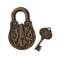 vintage padlock and key. secret or mystery. vector illustration