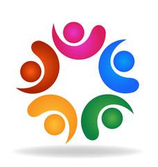 Logo Teamwork friendship business people icon vector