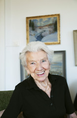 Elderly woman in apartment