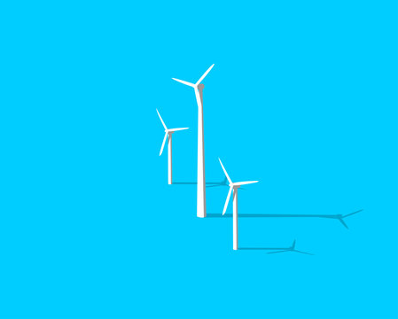Ecology environmental theme. Vector windmill icon with long shadow isolated on blue background. Modern 3D alternative eco energy icon. Wind farm illustration. EPS 10 vector file