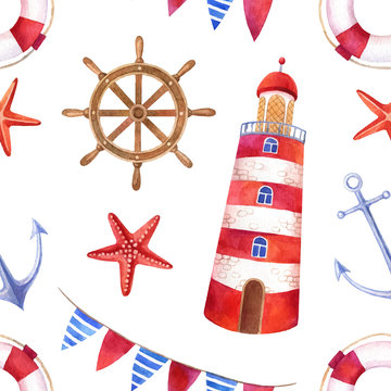Nautical watercolor seamless pattern with a lighthouse
