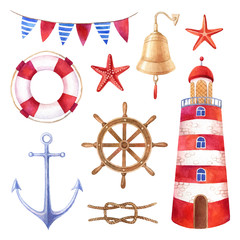 Nautical summer watercolor illustrations set