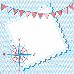 Summer nautical background wind rose and flags