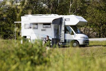 Caravan parked in garden