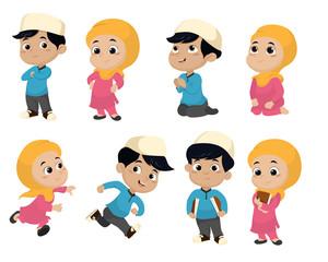 Set of kid muslim people doing activities.vector and illustratio
