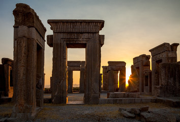 Orange Sunset at Palace of Darius from Achaemenid Empire in Persepolis of Shiraz