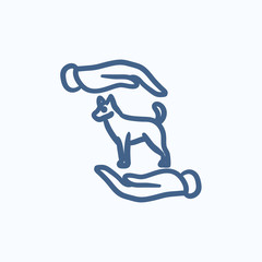 Pet care sketch icon.