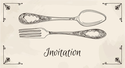 Hand drawn vector illustration of curly ornamental silver tableware, cutleryon a beige background watercolor background and texture. Hand drawn design element. Vector Illustration