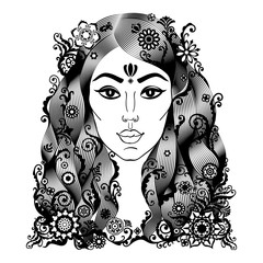 Portrait of beautiful woman in boho or indian style.
