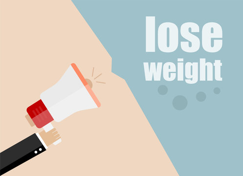 lose weight. Flat design vector business illustration concept Digital marketing business man holding megaphone for website and promotion banners.