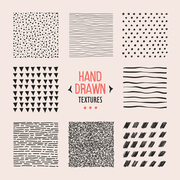 Set of hand drawn textures and patterns. Vector design elements.