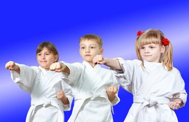 Kids in karategi are hitting punch arm
