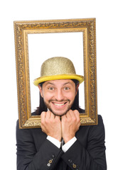 Man with golden hat isolated on white