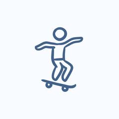 Man riding on skateboard  sketch icon.