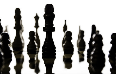 Chess pieces arranged on a chess board with a focus on the figur