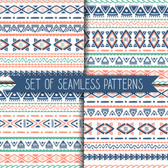 Set of 4 geometric seamless patterns. Vector