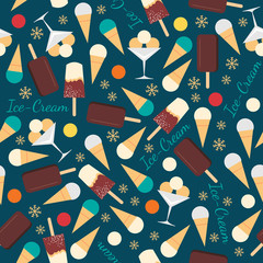 Seamless pattern with ice creams isolated on blue background