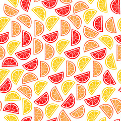 Citrus seamless pattern. Slices of tropical fruits