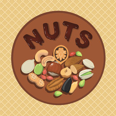 Nut collection with raw food mix and Round label illustration