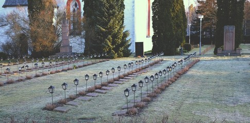 Cemetery with lamps