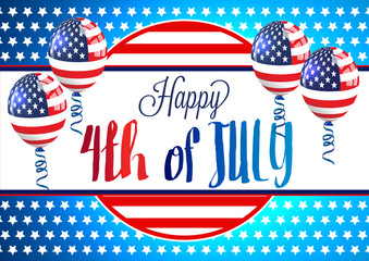 4th of July. Fourth of July Banner. Happy Independence Day Vector Design. 4th of July Vector Card or Banner with USA Flag Balloons.